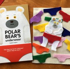 Flannel Board Activity for Book, Polar Bear's Underwear by Tupera Tupera (from Miss Nancy's 3's via Instagram: https://www.instagram.com/p/BYJSTBWjBmp/?taken-by=miss.nancys.3s)