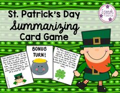 """Keep learning while celebrating St. Patrick's Day with these fun summarizing cards. Your students will practice the """"Somebody Wanted But So Then"""" method of making summaries, in addition to practice verbal expression skills. This product is a win-win!***************************************************************************What awesome summarizing activities are included?"""