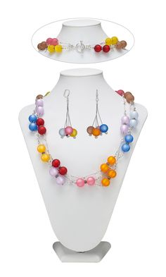 Jewelry Design - Triple-Strand Necklace and Earrings Set