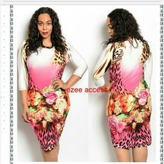 "Brand new plus size sexy dress floral bodycon club 3/4 sleevee.  knee or below knee depends on your height.  ivory with multi floral print  lightweight stretchy fabric.  96% RAYON ,spandex   Total Length:42-43"" Boutique Dresses"