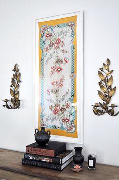framed a vintage scarf as DIY wall art