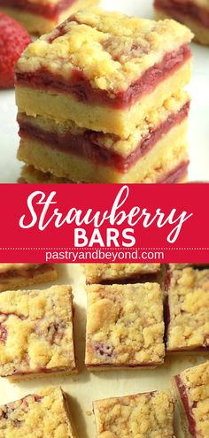 5 Ingredient Strawberry Crumble Bars- You can make these yummy strawberry crumbl., Desserts, 5 Ingredient Strawberry Crumble Bars- You can make these yummy strawberry crumble bars with only 5 ingredients! You need the same dough for the crust . Strawberry Bars, Strawberry Dessert Recipes, Strawberry Crumble Recipe, Strawberry Picking, Strawberry Cheesecake, Köstliche Desserts, Delicious Desserts, Yummy Food, Food Deserts