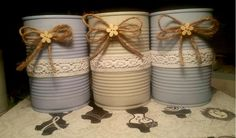 Recycle Cans, Diy Cans, Diy Recycle, Tin Can Centerpieces, Vases Decor, Recycled Tin Cans, Recycled Crafts, Mason Jar Crafts, Bottle Crafts