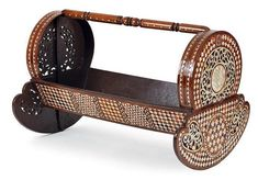 An inlaid walnut and mother-of-pearl Ottoman cradle. Ottoman Empire, Istanbul, Singapore, Panda, 19th Century, Objects, Baby, Painting, History