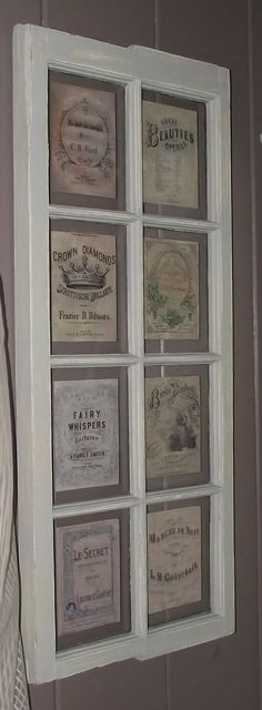 Repurposed window frame for the huge blank wall. Old book pages and/or artwork behind glass? Old Window Frames, Window Art, Window Panes, Window Ideas, Door Ideas, Vintage Windows, Old Windows, Old Window Projects, Diy Projects