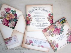 Vintage Wedding invitation - Boho Chic Victorian invitation - Christine Collection-  Sample