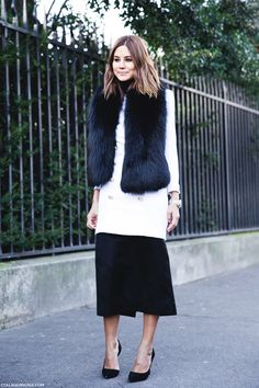 Fur scarf - White longsleeve top and black midi skirt . London. #ChristineCentenera Street style