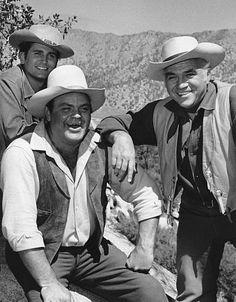 """Bonanza"" Michael Landon, Dan Blocker, Lorne Greene circa 1961"