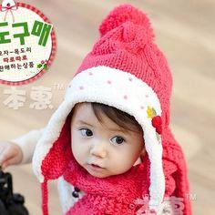 Girl Knitted Hat Scarf Ring Kids Beanie Caps Child Skullies Beanies