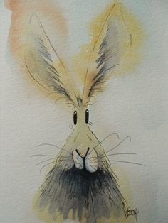 Boris the Hare  original watercolour painting by HaresAndHerdwicks