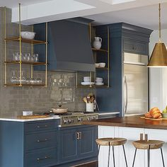 Wood and Brass Kitchen Shelves Suspended From the Ceiling, Transitional, Kitchen