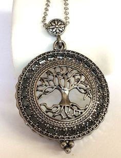 Silver Plated Tree of Life Necklace Magnifying Glass Vintage Long 34 inches Plus #Unbranded #Pendant