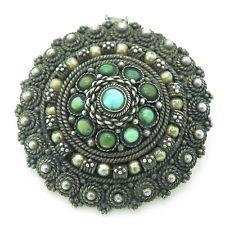 Israel Vintage Sterling Silver Turquoise Gem Large Handmade Round Pendant Brooch