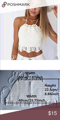 White crochet halter top Brand-new fits a size small please see the measurements before purchasing Tops Tank Tops