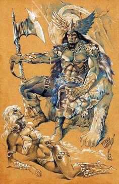 by Pablo Marcos Barbarian King, Conan The Barbarian, Fantasy Sword, Fantasy Art, Black Pen Sketches, Conan Der Barbar, Conan The Destroyer, League Of Heroes, Marvel Comics