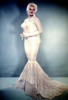 Jayne Mansfield in a lace mermaid wedding gown.