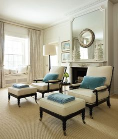 His and Her's chair with matching footstool/ottoman...perfect for master bedroom. By placing  both right in front of a fireplace surely guarantee some cozy reading on cold winter nights...