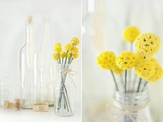 Here we share a tutorial to make faux Billy Buttons to decorate your home with lasting flowers. This DIY is very easy to make and a beautiful decoration Flower Crafts, Diy Flowers, Yellow Flowers, Fake Flowers, Pretty Flowers, Wedding Flowers, Flower Diy, Seasonal Flowers, Wedding Colors