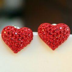 Par de pendientes de la forma Rhinestone Decorado corazón de las mujeres lindas para Vender - La Tienda En Online IGOGO.ES