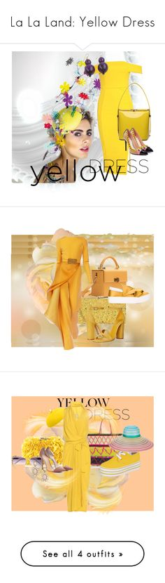 """La La Land: Yellow Dress"" by s-a-m-hoogland ❤ liked on Polyvore featuring Boohoo, NOVICA, Fendi, Hédara, Milly, Stephane Rolland, Schutz, Wilbur & Gussie, N°21 and Corto Moltedo"