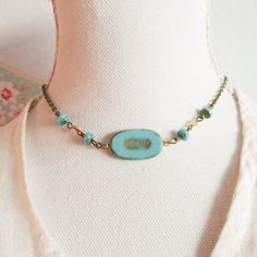 Boho choker necklace, turquoise blue chokers, bronze beaded necklaces, bohemian jewelry, gift for her