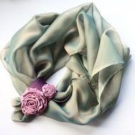 Light green chiffon scarf, sage green colour, w... - Folksy
