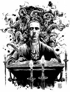In 1928 the American horror writer Howard Philips Lovecraft published a short story entitled The Call of Cthulhu. As time went on Lovecraft built up an entire world for his characters to populate… Hp Lovecraft, Lovecraft Cthulhu, Cthulhu Tattoo, Cthulhu Art, Call Of Cthulhu, Arte Horror, Horror Art, La Sombra Sobre Innsmouth, Necronomicon Lovecraft