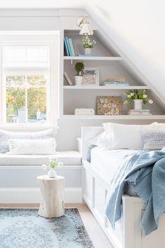 5 Ways to Achieve Elevated Coastal Design in Your Home blue infused attic bedroom with coastal inspired design Attic Bedroom Small, Attic Bedroom Designs, Attic Bedrooms, Coastal Bedrooms, Attic Spaces, Kids Bedroom, Attic Bathroom, Coastal Curtains, Bedroom Loft