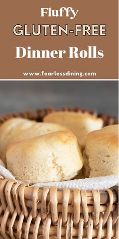 These delicious homemade gluten free dinner rolls are so light and fluffy, you can even bake them in your air fryer! Easy directions for air fryer and oven baking. fearlessdining Gluten Free Yeast Rolls, Gluten Free Dinner Rolls, Gluten Free Recipes For Dinner, Gluten Free Breakfasts, Foods With Gluten, Gluten Free Desserts, Dairy Free Recipes, Baking Recipes, Bread Recipes
