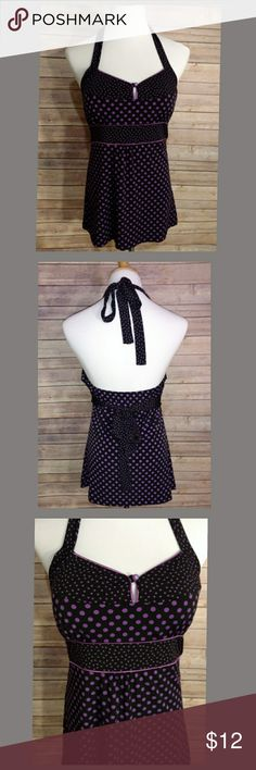 """Polka Dot Halter Top - black, purple Brand: Vanity Size: Medium; 13.5"""" across the bust. Black with purple polka dots, tie- halter top  Features: Halter tie neck (allows for adjustable length), decorative tie in the back; offers a flattering look. The front shape offers somewhat of a """"sweetheart neckline.""""  Easy care and comfortable; great for summer.    Good, pre-owned condition Vanity Tops Tank Tops"""