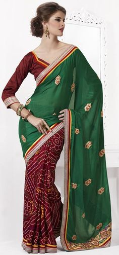 $59.71 Green and Red Bandhej Faux Georgette Saree 23673