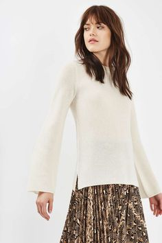 White Luxe Cashmere Flute Sleeve Jumper - Topshop