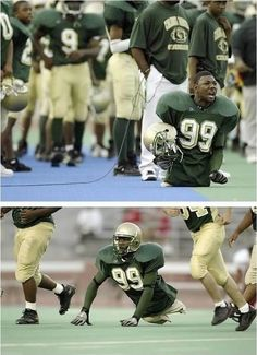 Bobby Martin from Dayton, Ohio was born with no legs and really does play football.