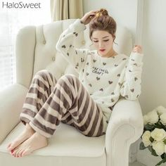 e69dff1163 Winter Sleepwear Women Pajamas Lady Pyjama Two Piece Indoor Clothing  Cartoon Home Suit For Female Plus Size