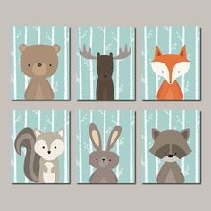Woodland Nursery Woodland Animals Wall Art Baby Boy Nursery Decor Forest Animals Fox Rabbit Bear Squirrel Raccoon Set of 6 Prints Or Canvas - Choose Your Background Colors! ★Includes 6 pieces of wall art Available in PRINTS or CANVAS ★SIZING OPTIONS Available from the drop down menu above the add to cart button with prices ★PRINT OPTION Available sizes are 5x7, 8x10, & 11x14 (inches). Prints are created digitally and printed with UltraChrome Hi-Gloss ink on professional 68lb satin lust...