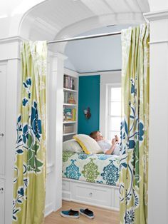 "Kids' Room This California home's shiplike guest bed is enclosed in a cozy nook by Anthropologie curtains. The teal walls are painted ""English River"" by Dunn-Edwards. Read more: Cozy Bedroom Ideas - Decorating Ideas for Cozy Bedrooms - Country Living House Of Turquoise, Murs Turquoise, Turquoise Walls, Bedroom Turquoise, Teal Walls, Cozy Bedroom, Bedroom Wall, Kids Bedroom, Bedroom Decor"