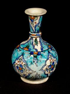 Turkey, Kütahya province, Kütahya kilns (Turkish), Vase with floral diamonds on a turquoise-splashed background, mid to late 19th century, stonepaste with polychrome decoration under clear glaze