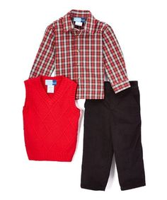 Loving this Red Cable Sweater Vest Set - Toddler & Boys on #zulily! #zulilyfinds