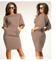 Unique Puff 3/4 Sleeves Bodycon Knee-length Casual Dress