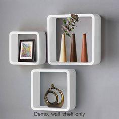 3 Piece Wall Cube Shelf Set Floating Design Concealed Bookshelf Display White