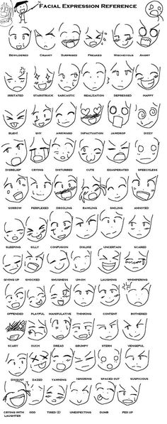 manga anime expressions tutorials | Anime Expressions Reference by Moonlight-Echidna: