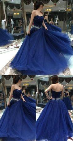 Elegant Navy Blue Prom Dress,Chiffon Prom Dress,Beading Prom Dress,A Line Prom