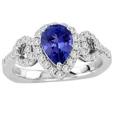 This stunning ring looks extremely royal due to its magnificent appearance. A pear shaped tanzanite studded with 42 round diamonds of 0.480 carats