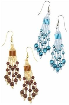 FREE PATTERN - Earrings with Gemstone Beads, Czech Fire-Polished Glass Beads and Seed Beads - Fire Mountain Gems and Beads