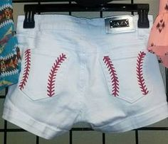 HAND PAINTED, cute, baseball stitch pocket shorts. Sizes 1-13, junior sizing, with stretch. Baseball shorts can be ordered on my website.