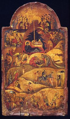XC__ Γεννηση __dec 25 ( The Nativity, The Holy Monastery of Saint Catherine, Sinai, cent. Byzantine Art, Byzantine Icons, Religious Icons, Religious Art, Romanesque Art, Russian Icons, Best Icons, Orthodox Icons, Sacred Art