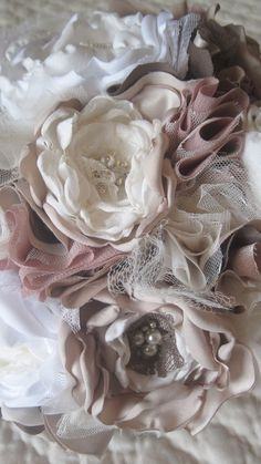 Fabric Flower Custom Wedding Bouquet.  Champagne, Dusty Rose Ivory with pearls, lace, vintage jewelry, rhinestones.