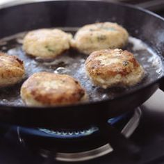 Fish cakes with fresh herbs. A great, easy seafood classic.