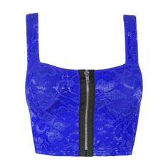 Royal Blue Front Zip Padded Floral Lace Crop Bralet Top ($9.89) ❤ liked on Polyvore featuring tops, shirts, crop tops, blusas, bralet, bralette crop top, bralette tops, sexy tops, lace shirt and sexy shirts