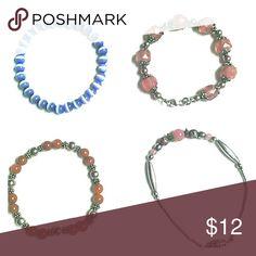 4 bracelet set Blue stretchy bead bracelet, orange and silver stretchy bracelet, 2 pink bead and sterling silver bracelets. Jewelry Bracelets